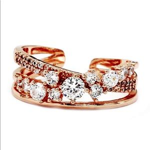 Fashion rose gold row sparkling crystal ring
